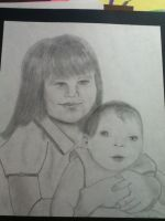 a portriat of me and my sis by Waterbender1996