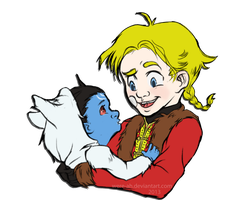 Jotun babe Loki and Little Thor by Were-Ah