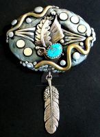 Turquoise and Silver Brooch by MandarinMoon