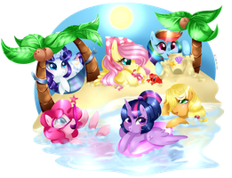 Mane 6 Summer Fun by kireikirei