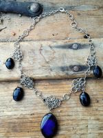Agate and Onyx Fairymail Necklace by FaerieForgeDesign