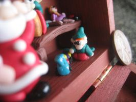Christmas diorama: playing with the train by SelloCreations