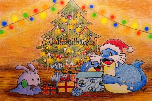 Goomy and Sealeo with Presents by Pikabulbachu