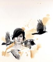 Girl with crows by roberthendrickson