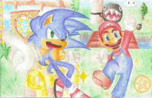 Sonic and Mario by FayeleneFyre