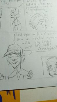 Working on a really cheesy comic by Kerzid