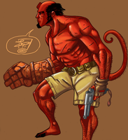 Hellboy Digitally Colored by JPVilchisartist