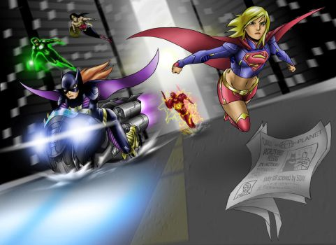 Supergirl and Batgirl, JLA to the rescue by Huang-Jun