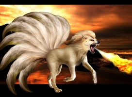 Realistic Ninetails by AkashaOokami