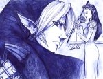 Link and Zelda -  Ballpoint Pen by Sabtastic