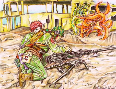 Battlefield - Naruto and Gaara by happylilsquirrel