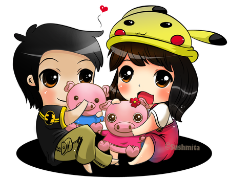 little chubby pig and pretty pig :3 by tomomi11
