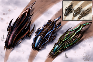 Mat Andre - Spaceship Designs 1 - 5 by MatAndre