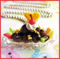 Chocolate Ice Cream Necklace by cherryboop