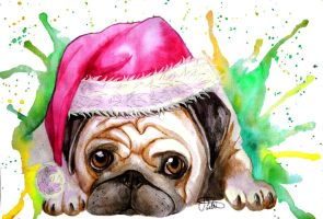 Puggy Christmas by whitecrestwaves