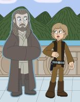 Luke meets Qui-Gon with his Force Spirit by MCsaurus