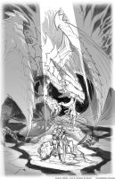 dragon vs ella 2 sketch by el-grimlock