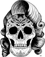 Pinup Girl Sugar Skull by WelshPixie
