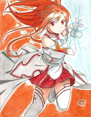 Asuna fighting (Sword Art Online) by Hahc3Shadow