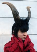 Goat horn headdress by missmonster