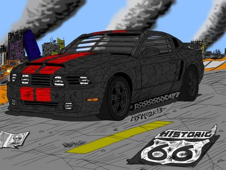 Post Apocalyptic Ford Mustang Final by RedSpider2008