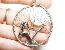 Leaping Stag Tree of Life Pendant by LoneWolfjewelry