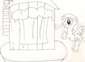 Derpy at the Gravity Falls Water Tower by Ben-the-looney