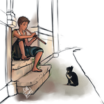 A boy and a cat by Little-Roisin