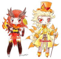 Emboar and Ninetails by spiderliing666