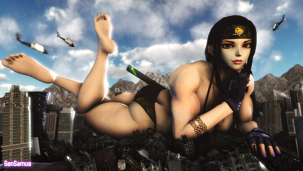 Giantess Muscular Connie Lounging in the City by GenSamus