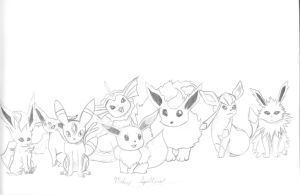 Eevee's Evolutions by Mikey-Spillers