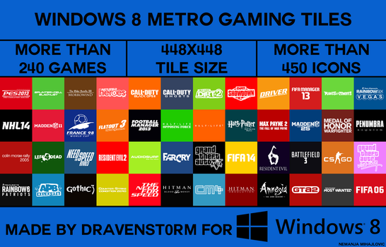 Windows 8 Metro Gaming Tiles by dravenst0rm v2.0 by dravenSt0rM