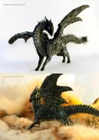 Zigrih Dark Harmony Black dragon sculpture by hontor