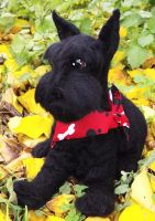 Needle felted cute black dog Schnauzer by WoolArtToys