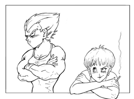 Bulma and Vegeta lines by ginkoflowers