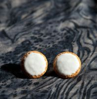 Iced Oatmeal Cookie Stud Earrings by SweetSugaRush