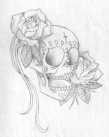 Day of The Dead Skull sketch by inthedoorway