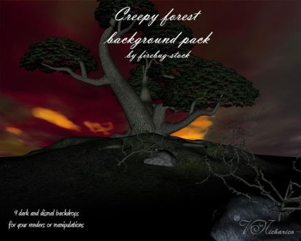 Creepy forest background pack by firebug-stock
