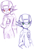 Rockman EXE and Dark Rockman by Na-Nami