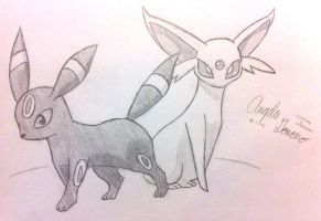Espeon and Umbreon by mochiprincess