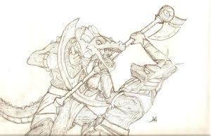 LoL - Nasus Fighting Renekton by Daedrid