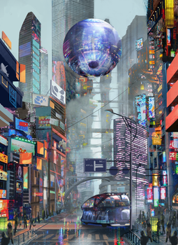 cyberpunk city by Nezariel