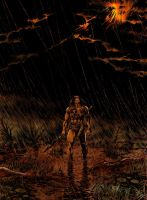 CONAN IN THE RAIN-colored by benitogallego