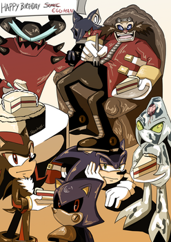 EGGPARTY Happy Birthday Sonic and Eggman by 7marichan7