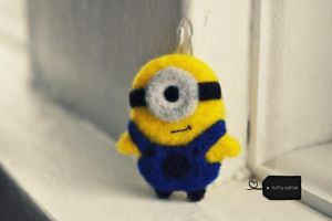 needle felted minion by FluffyParcel