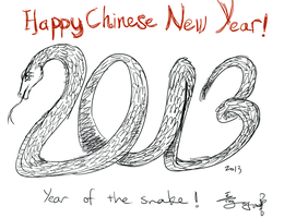 Chinese New Year Snake by RainyDayCloud