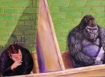 Gorilla using the toilet by ghostexiled