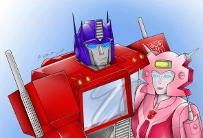 Optimus Prime and Elita-1 -Animated IMAGE- by LadyElita-Arts