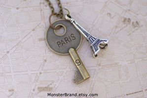 Key to Paris Necklace by MonsterBrandCrafts