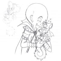 _megamind and whiskers sketch_ by Fire-Miracle